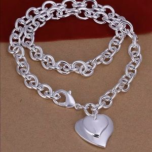 """925 Sterling Silver Double Heart Love Necklace 18"""""""